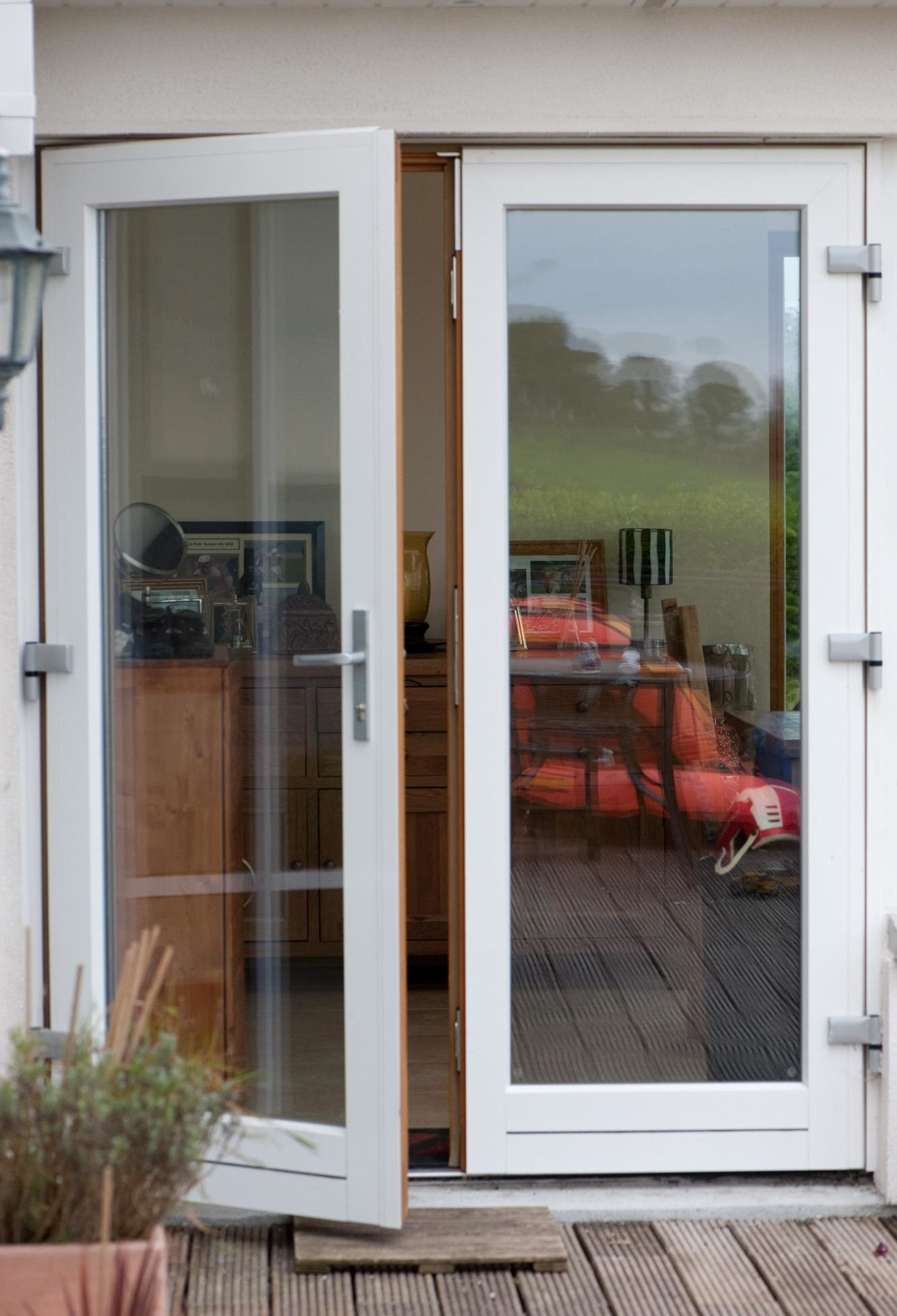 78cora aluclad timber french doors eiche afzelia stain for Timber french doors