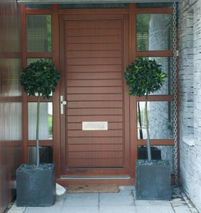 Pine wood Entrance door with side lites Eiche-Afzelia stain