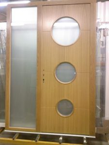 Timber Flush Entrance door with circle glass design